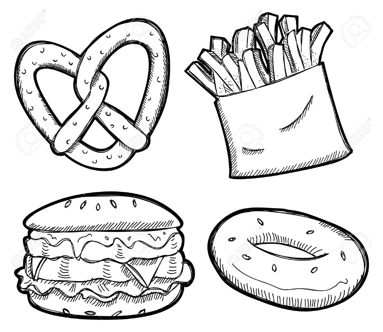 Download Snacks Black And White Snack Hd Image Clipart PNG.