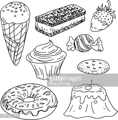 Snacks Collection IN Black and White premium clipart.