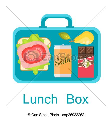 Clip Art Vector of Lunch box vector. Snack pack for student.