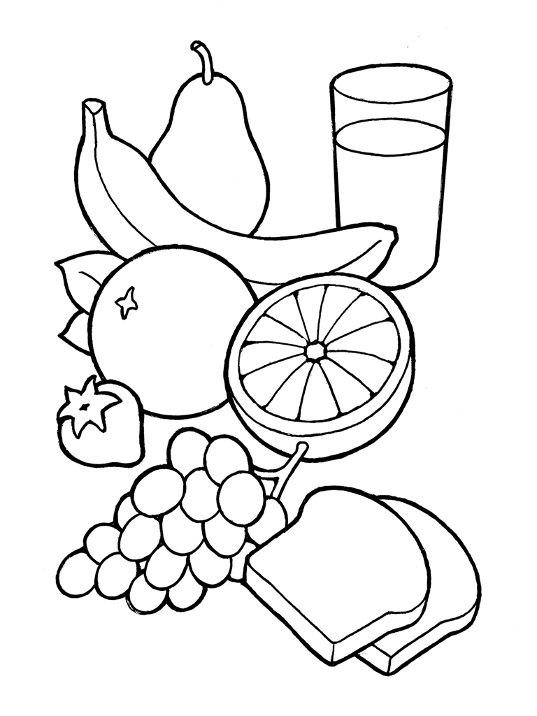 Healthy Snack Clipart Black And White.