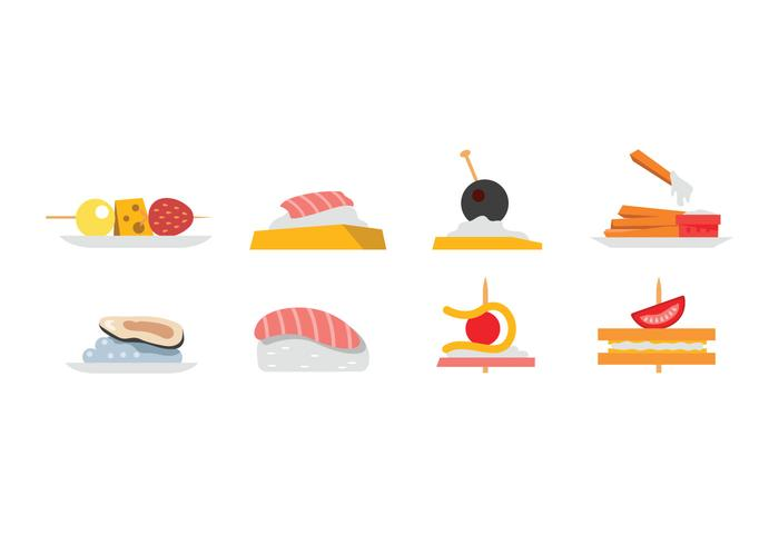 Appetizers and snacks vector.