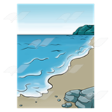 A Beka Book :: Clip Art :: Sandy Shore with Rocks.