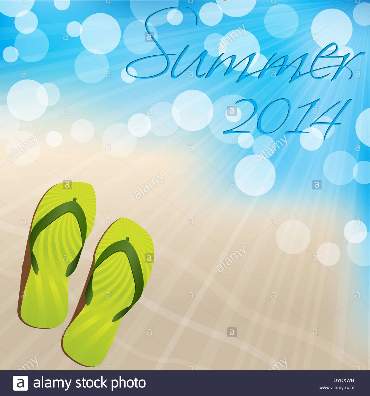 Summer Background Design With Flip Flops On Sandy Shore Stock.