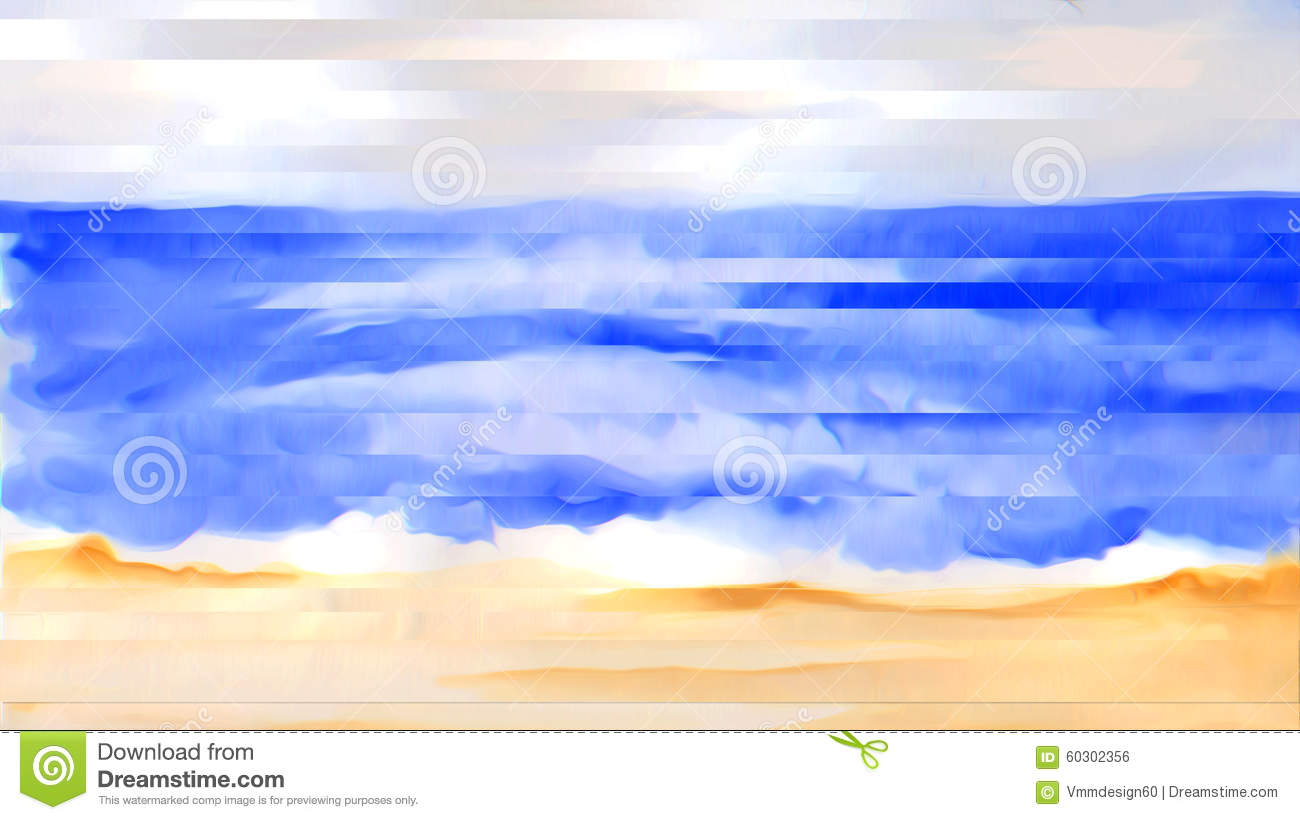 Beach Waves Shoreline Of An Ocean Surf Abstract Watercolor.