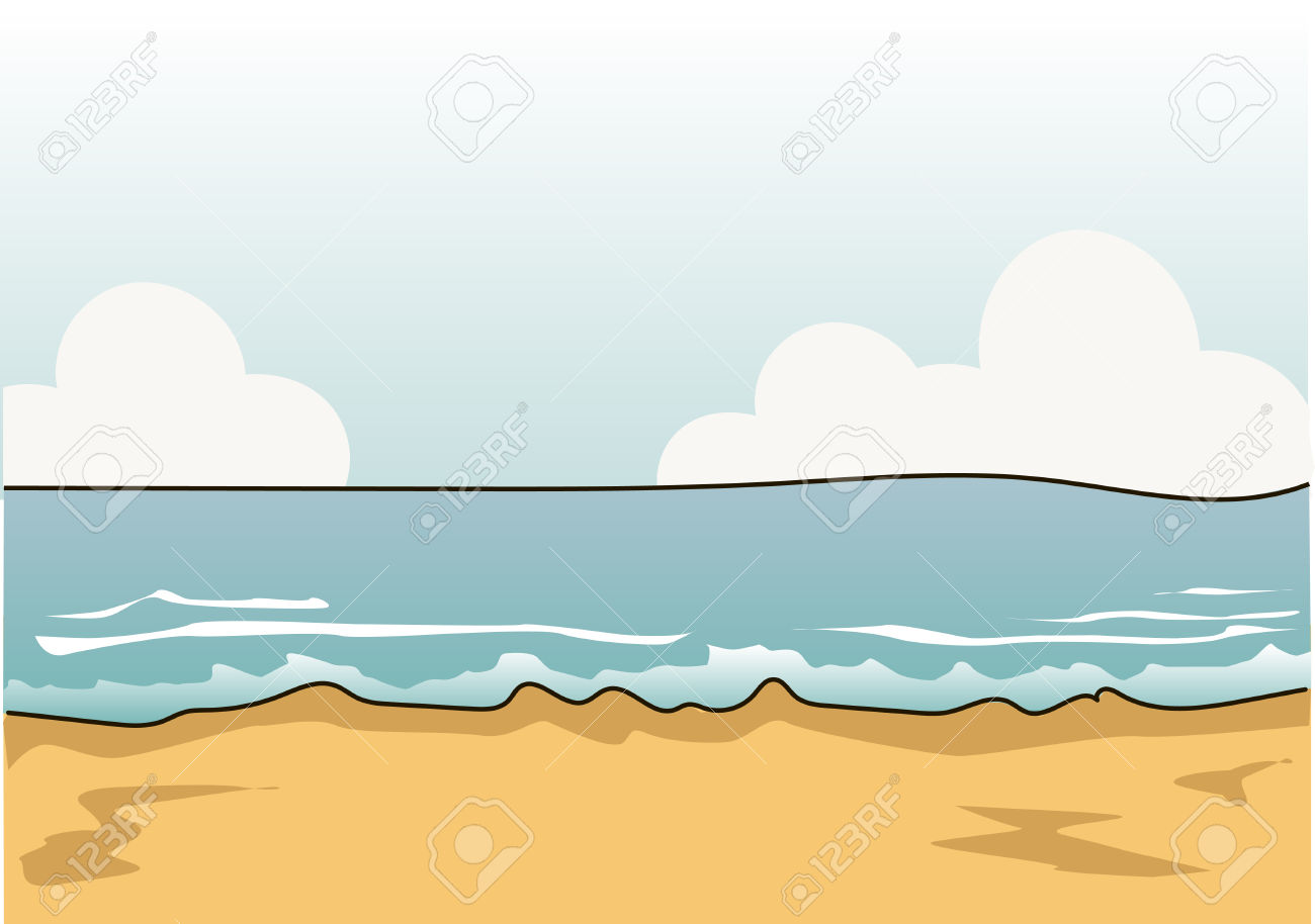 Sandy Shore. Blue Sea. White Clouds. Royalty Free Cliparts.