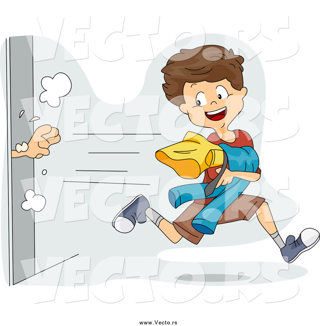 Vector of a Mischievous Boy Snagging Clothes from a Dressing Room.