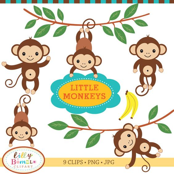Little Monkeys Clipart.