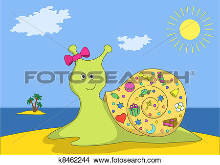 Clipart of Snail with gifts on island k8462244.