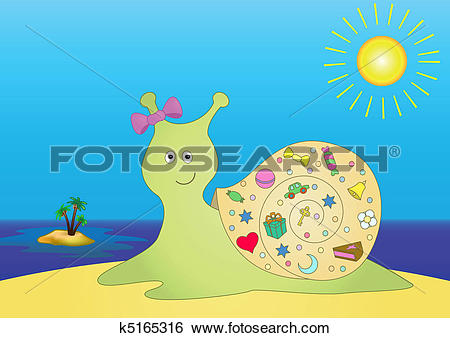 Clip Art of Snail with gifts on island k5165316.