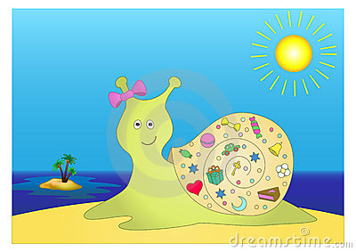 Gift Snail Illustration Stock Illustration.