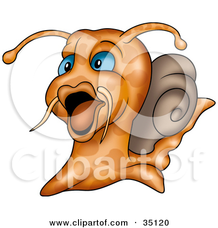 Clipart Illustration of a Whiskered Water Snail With Blue Eyes by.