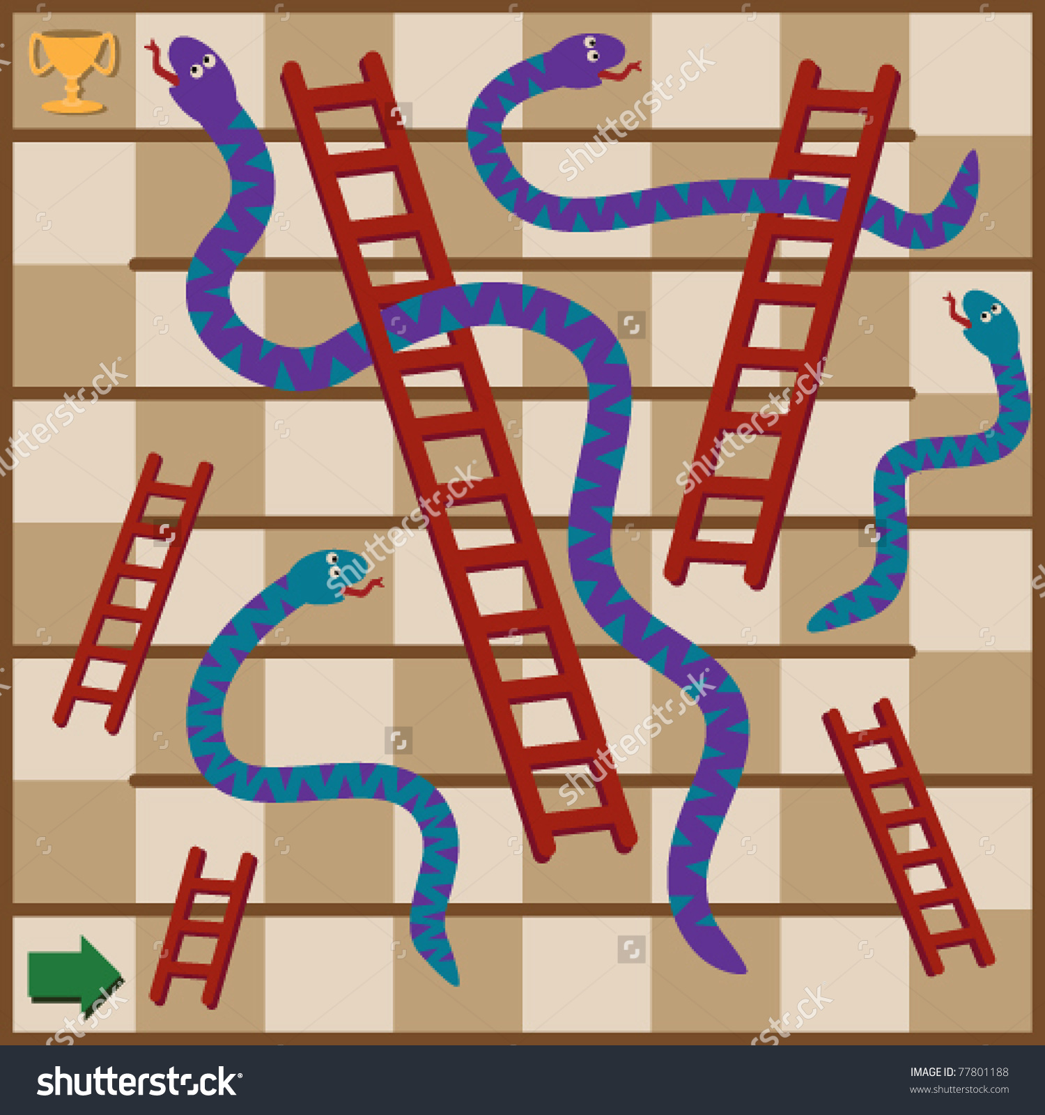 Snakes Ladders Board Game Snakes Ladders Stock Vector 77801188.
