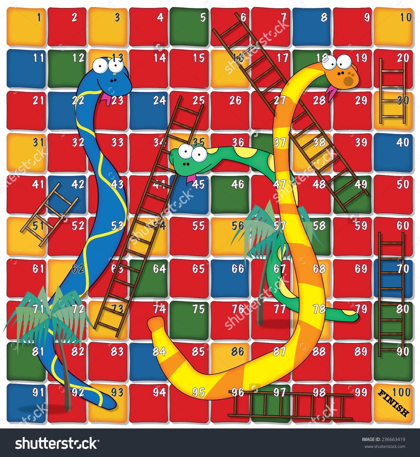 Snakes Ladders Board Game Stock Illustration 236663419.