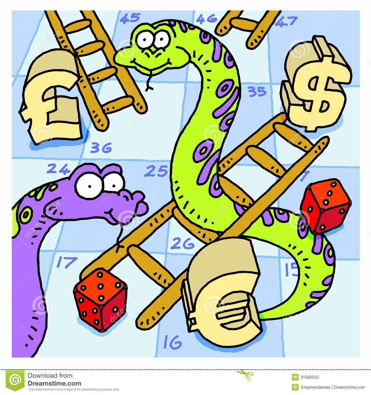Snakes And Ladders Stock Vector.