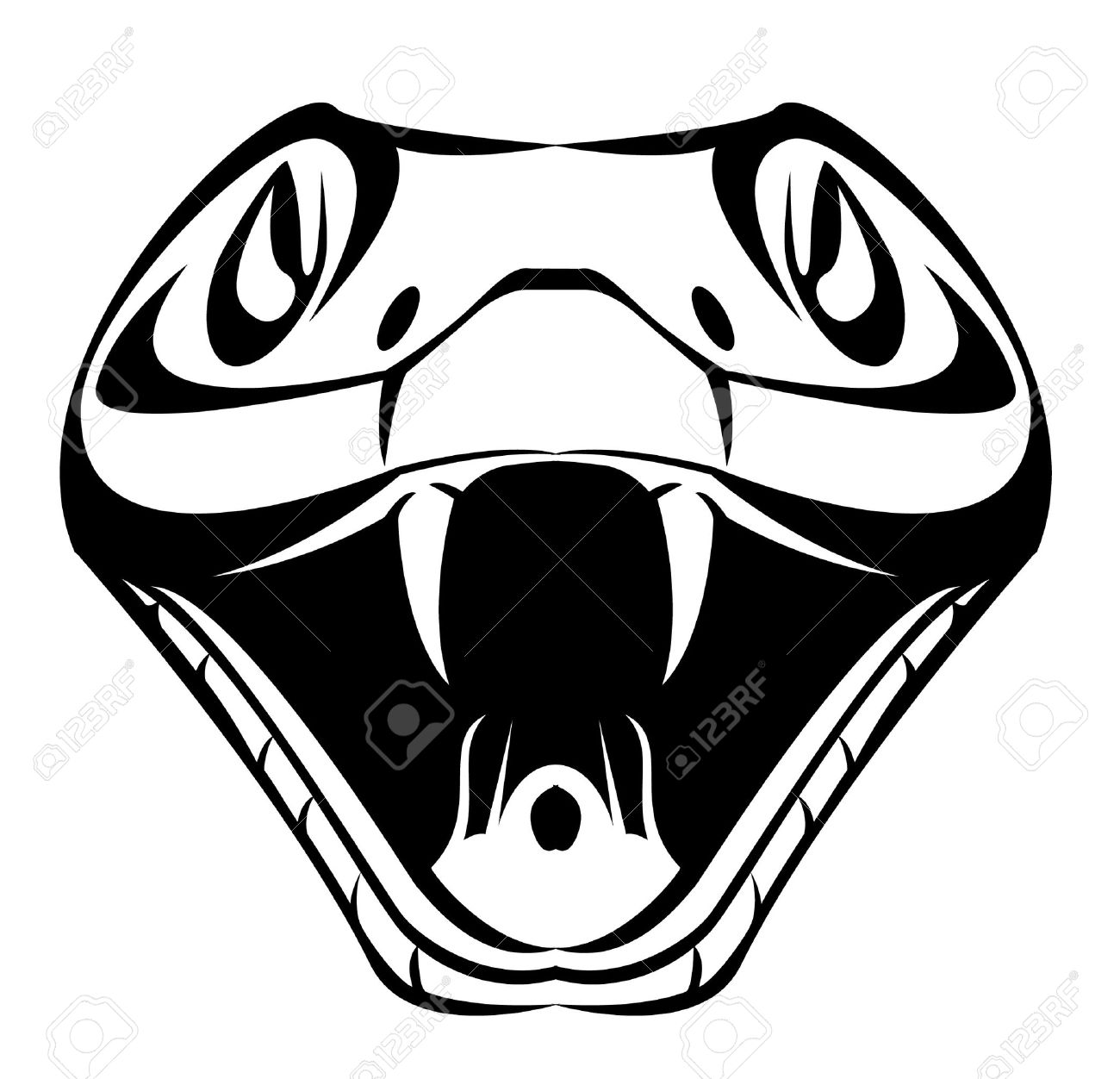 Snake Head Clipart Black And White.