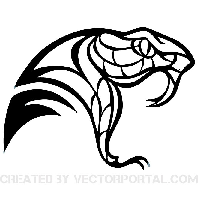 Simple snake head clipart.