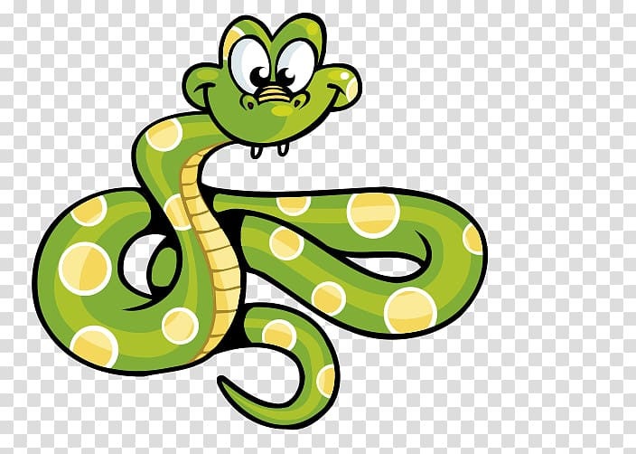 Animated green and yellow snake illustration, Snake Computer.