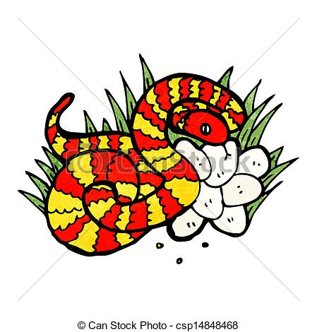 Clip Art Vector of snake on nest of eggs csp14848468.