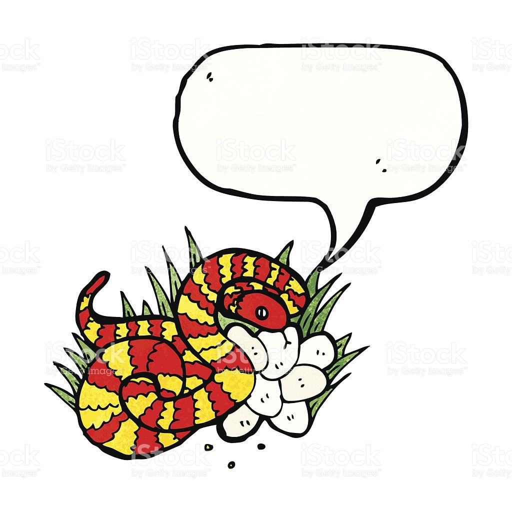 Illustrated Snake On Nest Of Eggs stock vector art 478871991.