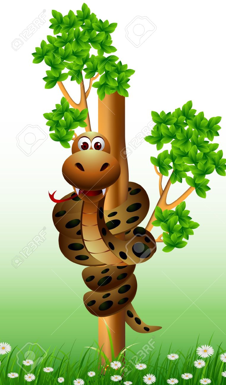 Snake in tree clipart.