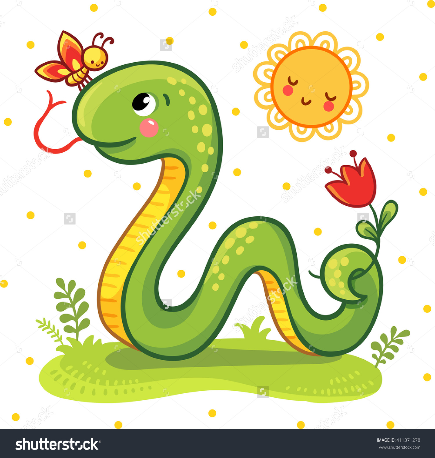 Vector Illustration Cartoon Snake Butterfly On Stock Vector.