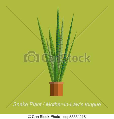 Vector Clip Art of Vector flat illustration of indoor homeplant.