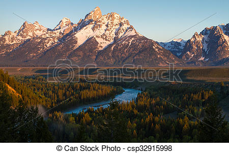 Stock Photographs of Tetons and Snake River.
