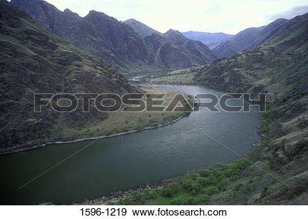 Stock Photograph of High angle view of a river, Snake River, Snake.