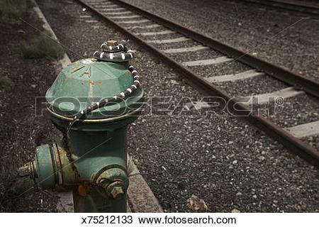 Stock Photo of snake by train track on fire hydrant x75212133.