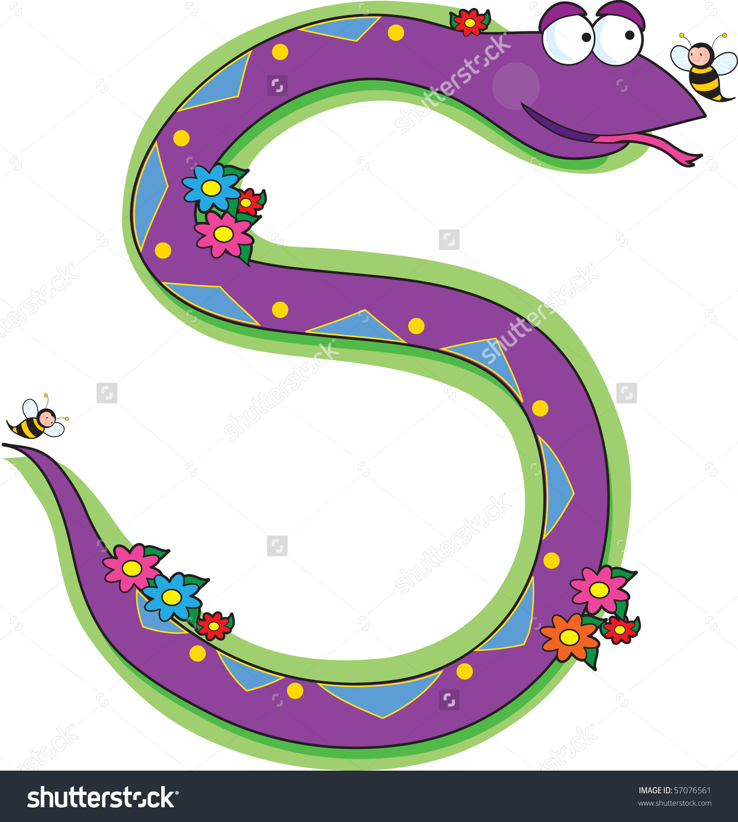 A Snake In A Garden Looking At A Bee. It Is Shaped Like The Letter.