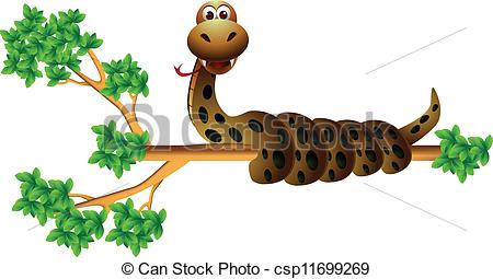 Clip Art Vector of snake on the tree.