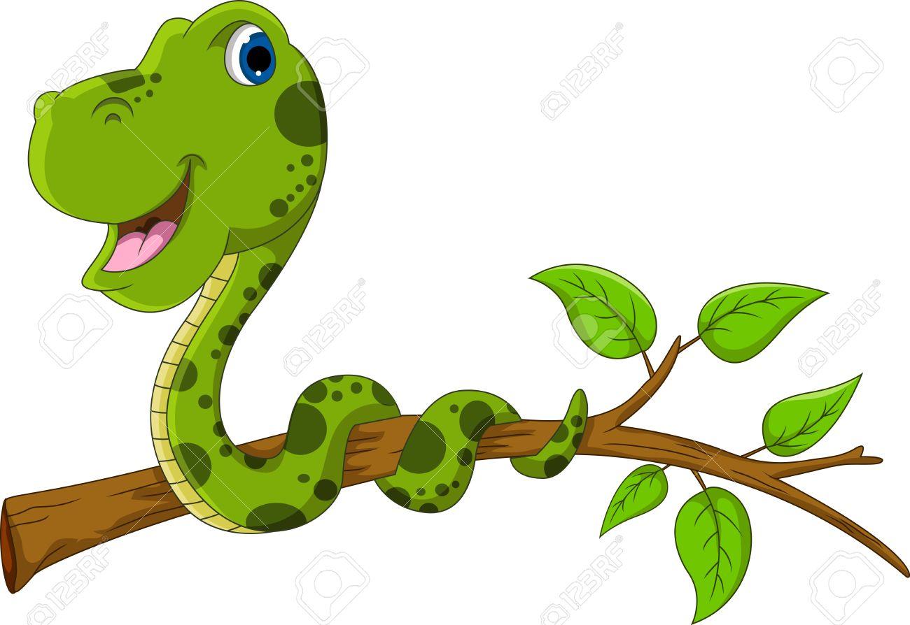 Cute Green Snake Cartoon On Tree Royalty Free Cliparts, Vectors.