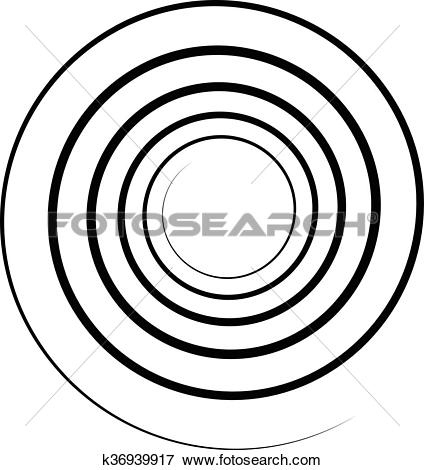Clip Art of Abstract spiral element. Twirl, swirl, whorl shape.