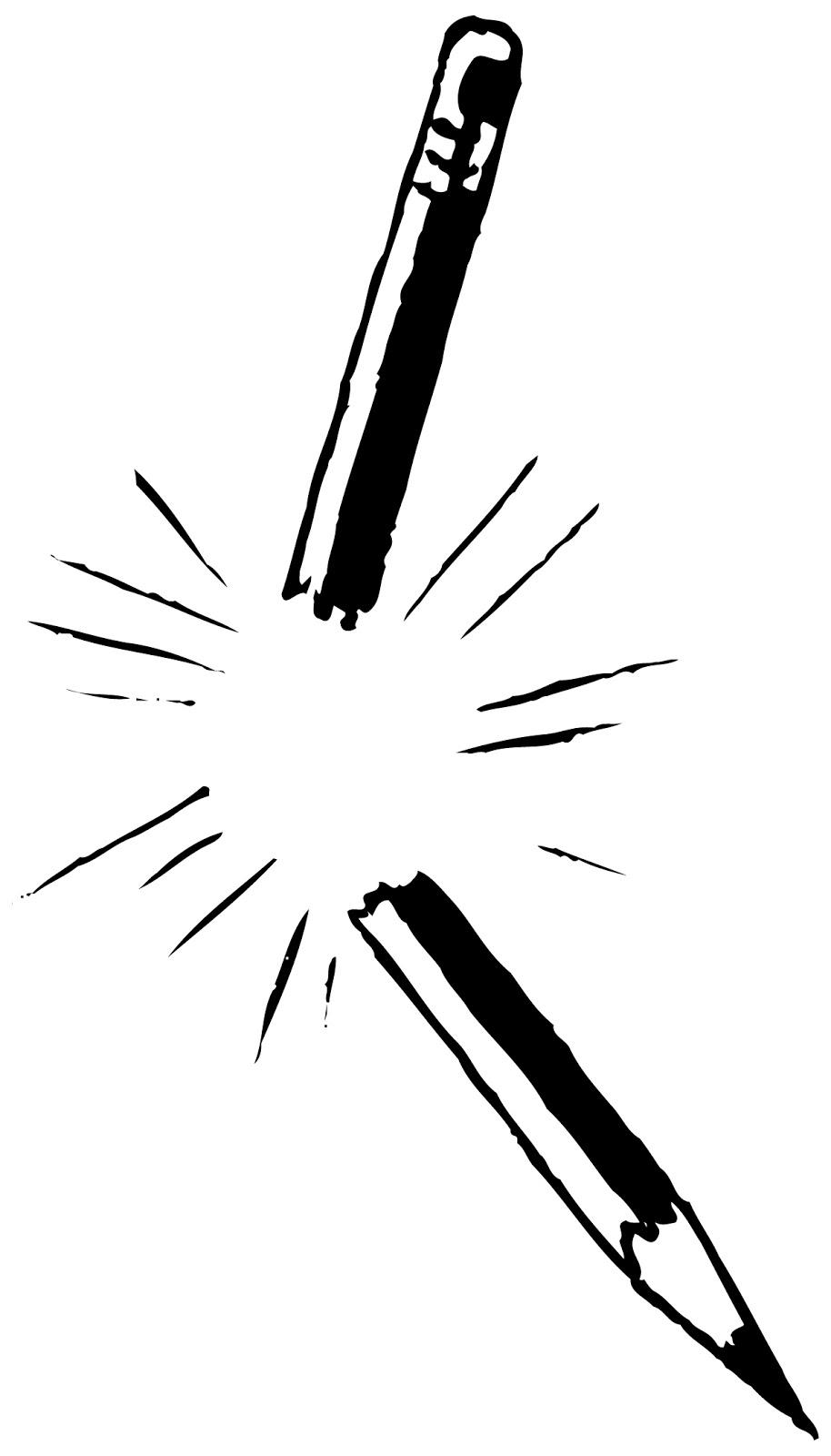 Broken Pencil Black And White Clipart.