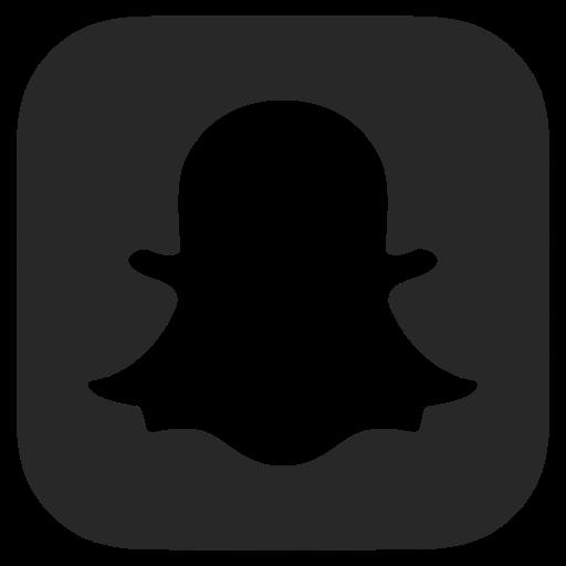 Black and white, dark grey, snapchat icon.