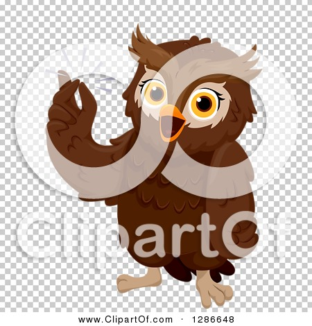 Clipart of a Smart Brown Owl Snapping His Fingers with an Idea.