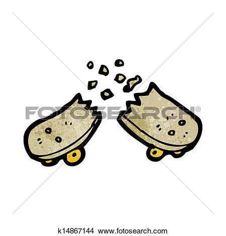 Stock Illustration of snapped skateboard cartoon k15559875.