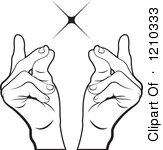 Clipart of a Hand Snapping Fingers on a Purple Cross.