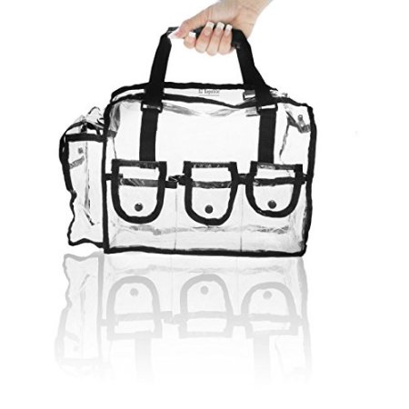 Cosmetic Clear Makeup Bag Organizer Case with Shoulder Strap Snap.