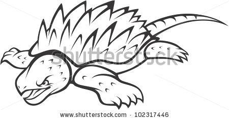Wild Alligator Snapping Turtle Illustration Stock Vector 102317446.