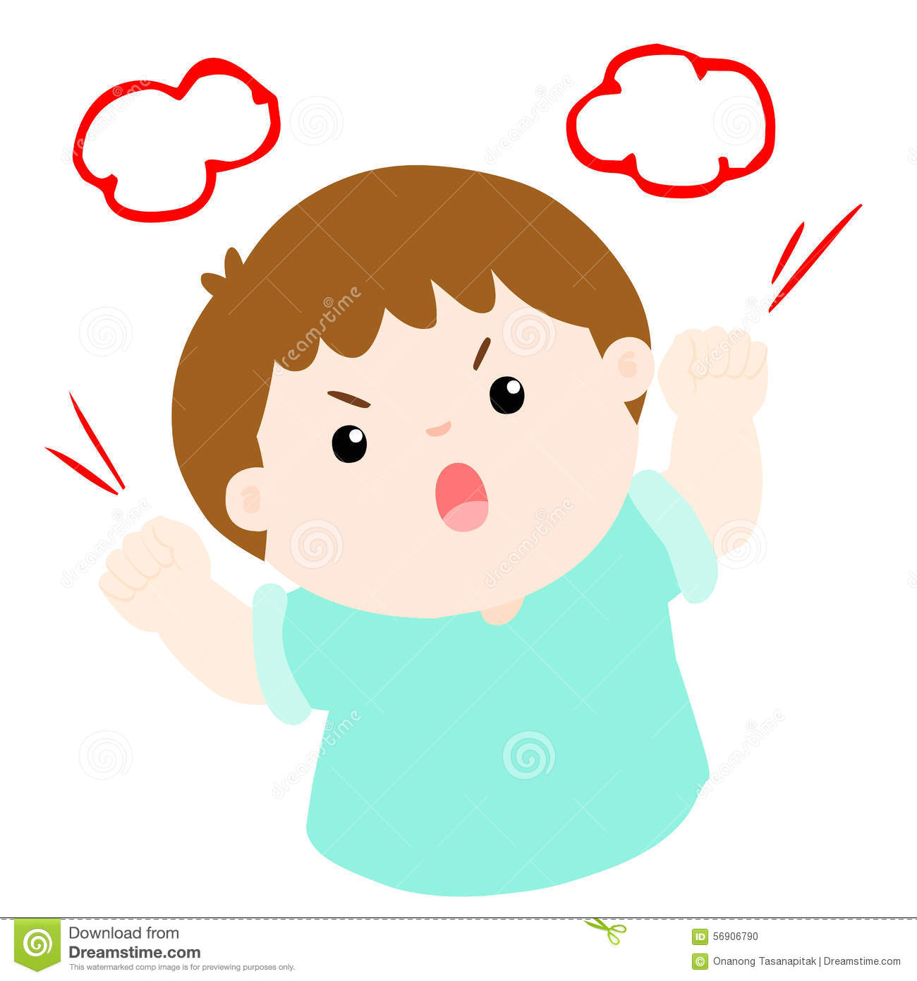 Angry Boy Shout Loudly On White Background Stock Vector.