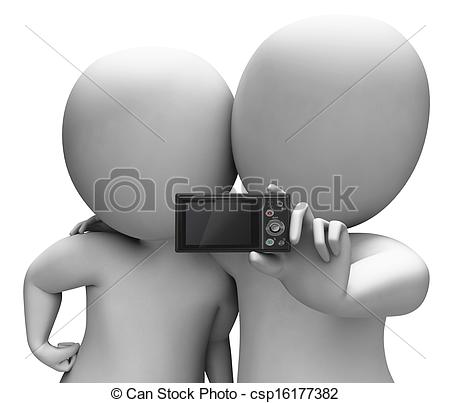 Stock Illustration of Couple Portrait Photo Shows Camera Self.