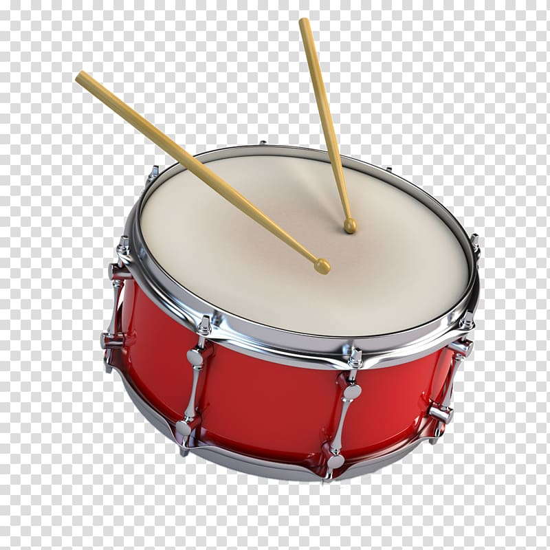 Red and white snare drum and beige drumsticks, A snare drum.