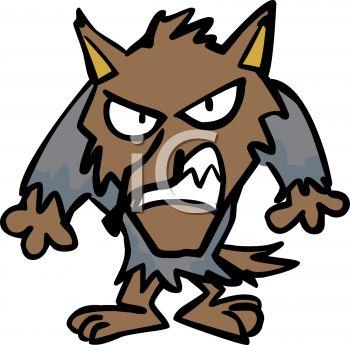 Cartoon of a Snarling Werewolf.