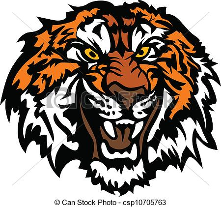 Clip Art Vector of Tiger Head Snarling Graphic Mascot.