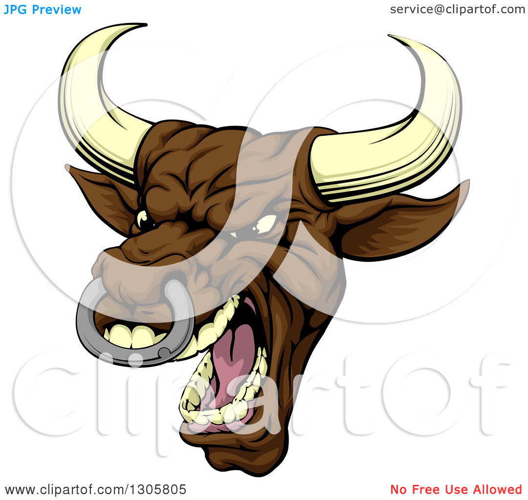 Clipart of a Snarling Vicious Mad Brown Bull Mascot Head.