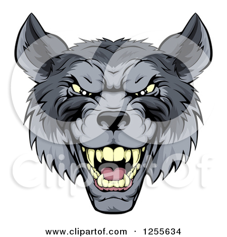 Clipart of a Snarling Vicious Wolf Face.