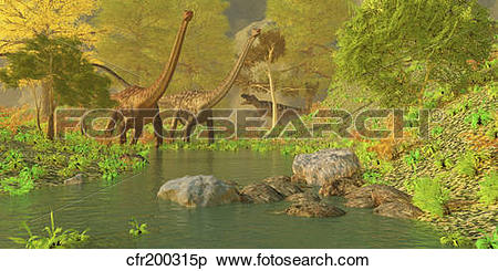 Stock Illustration of A Ceratosaurus tries to sneak up behind two.