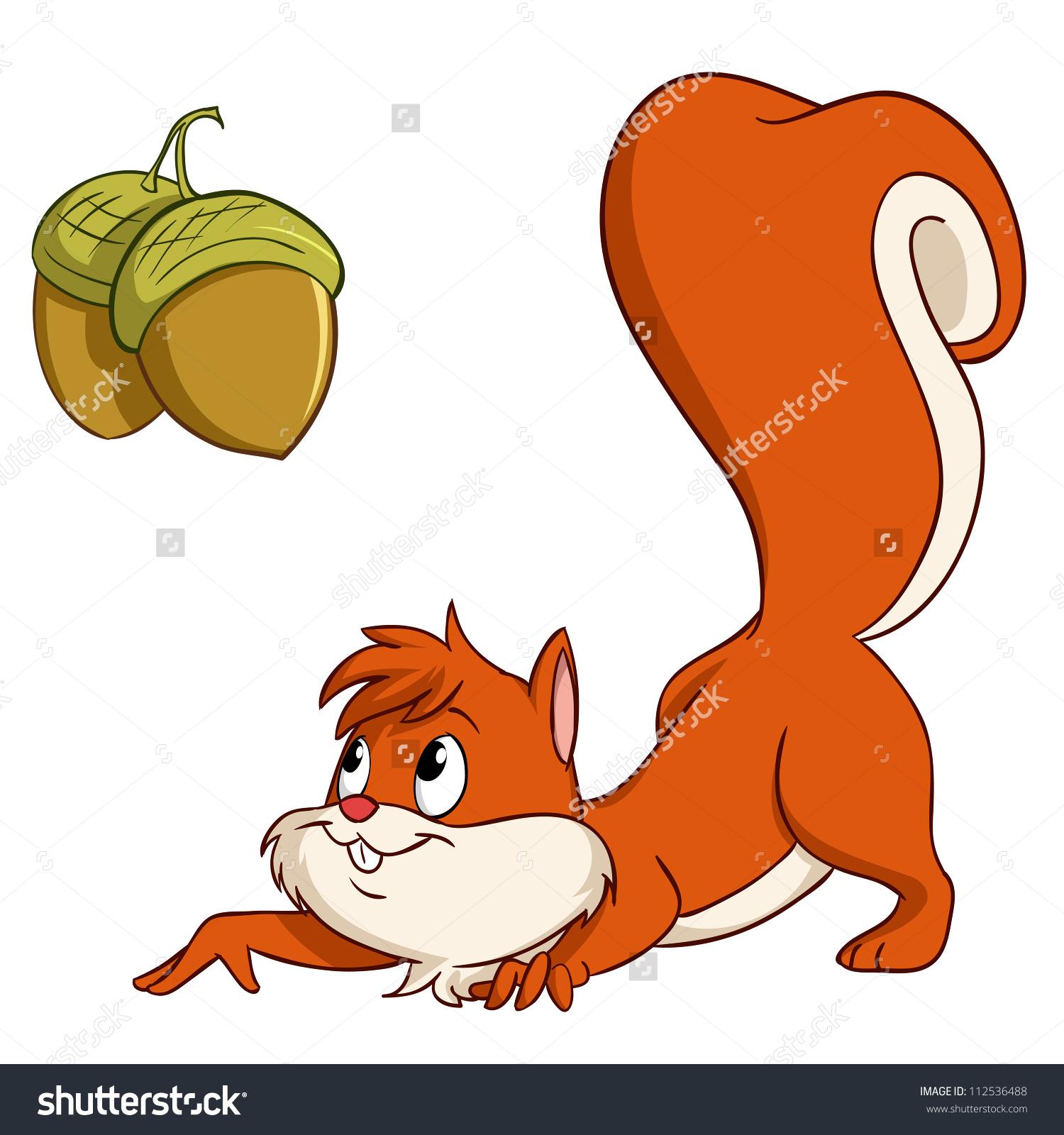 Cute Cartoon Squirrel Sneak Nuts Vector Stock Vector 112536488.