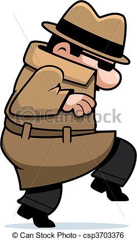 Clip Art Vector of Spy Sneaking.